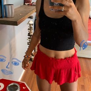 Free People Red Flowy Short